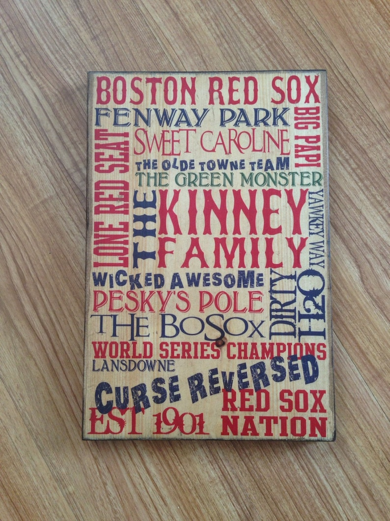 Personalized Custom Red Sox Typography Art On Wood Red Sox image 0