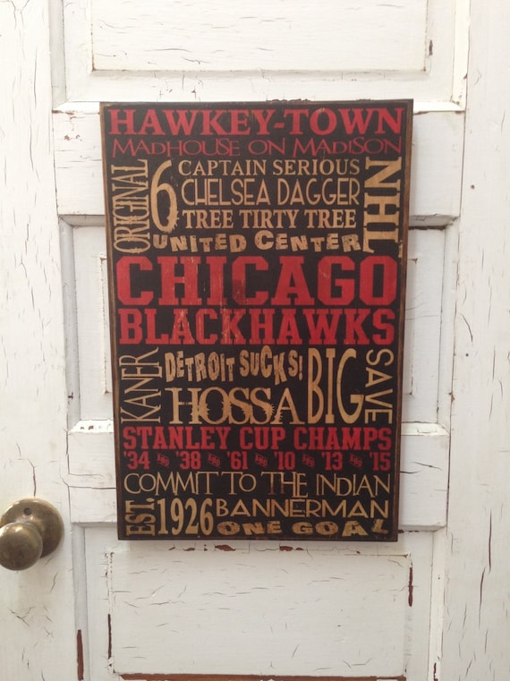 Chicago Blackhawks Hockey Wood Sign, Hawkey-Town Sign, Hockey Words on Wood, NHL Team Sign, Rustic Hockey Art