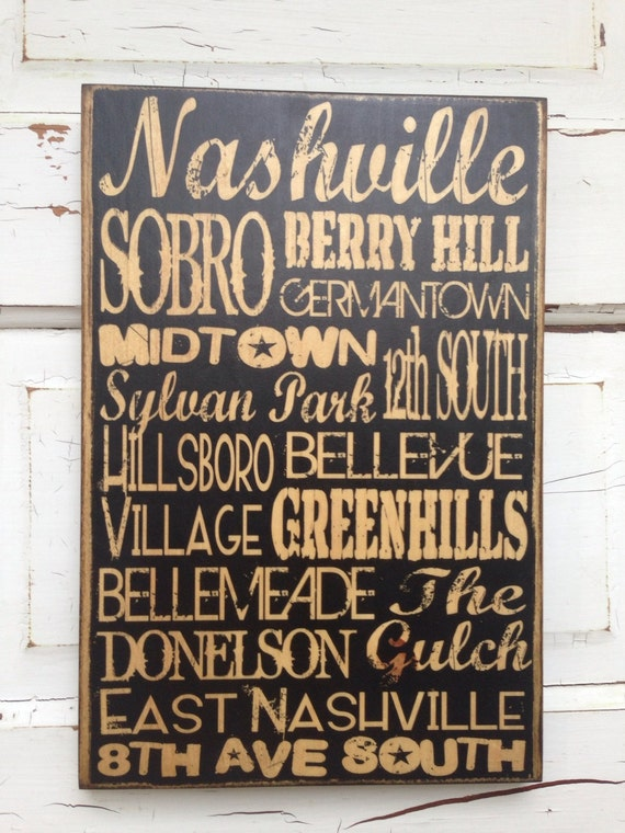 Nashville Tennessee City Areas Typography Sign On Wood, Nashville Print on Wood, Nashville Areas Print, Nashville Neighborhoods Sign on Wood