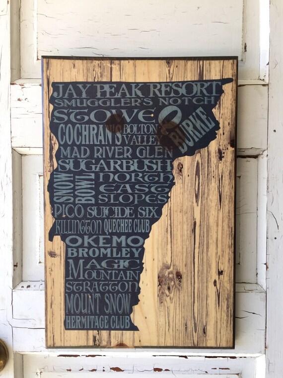 Gift For Him- Vermont Ski Art Wood- Vermont Ski Resorts - Snowboarding Areas Vermont Print- Killington- Stowe- Mount Snow-Smuggler's Notch
