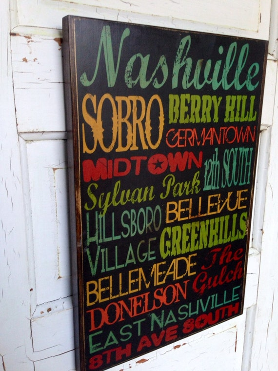 Nashville Tennessee City Areas Typography Sign On Wood, Music City Decor, Country Music City Areas Art, Nashville Neighborhoods Sign on Wood
