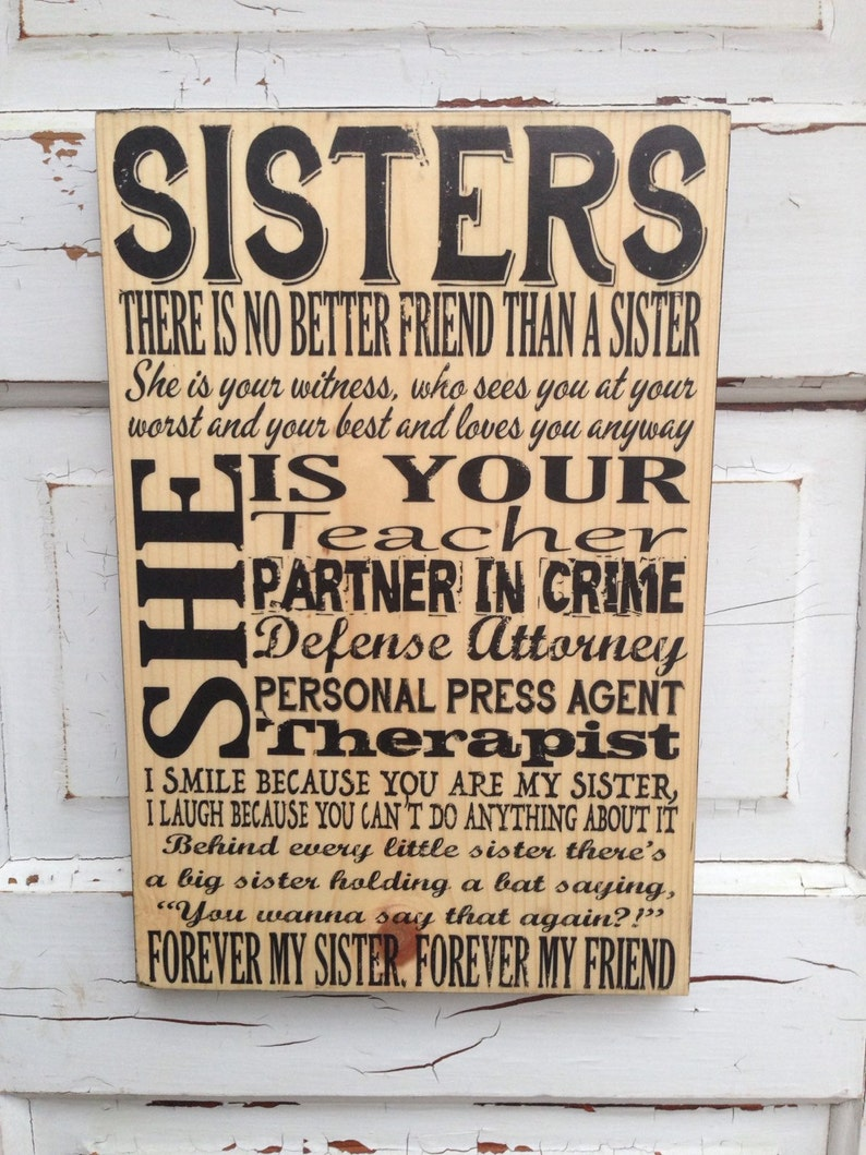 Sisters Sign Sisters Art Sisters Decor Adult Sisters Sign image 0