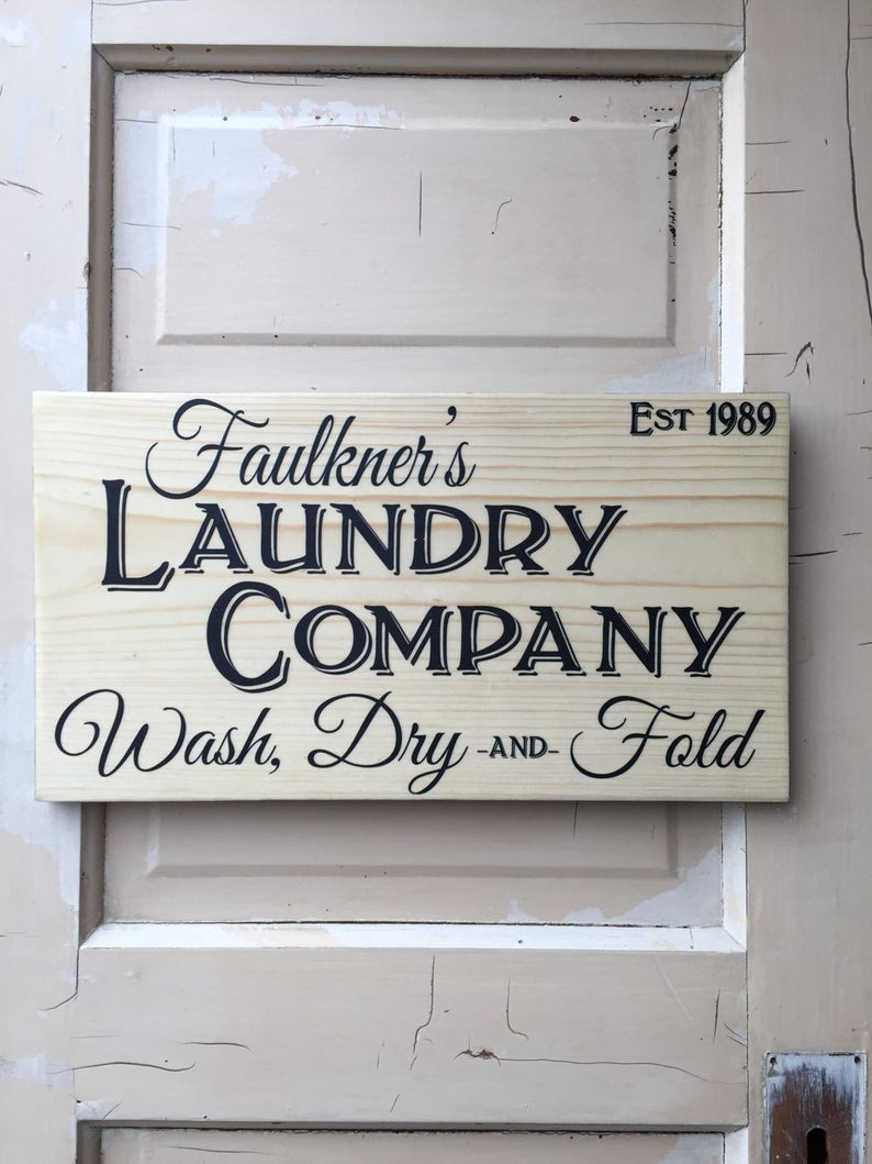 Laundry Sign Personalized Farm House Laundry Sign Vintage image 0