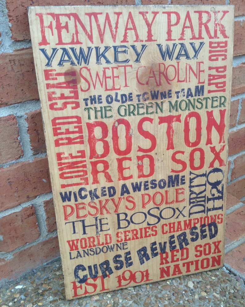 Boston Red Sox Typography Art on Wood Red Sox Baseball Decor image 0