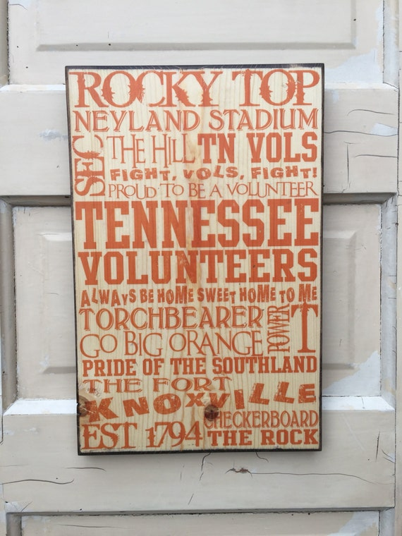 University of Tennessee Print On Wood sign- UT Vols-  UT Football Sign- UT Volunteers Decor- Rocky Top- Tennessee Art- Tennessee Football
