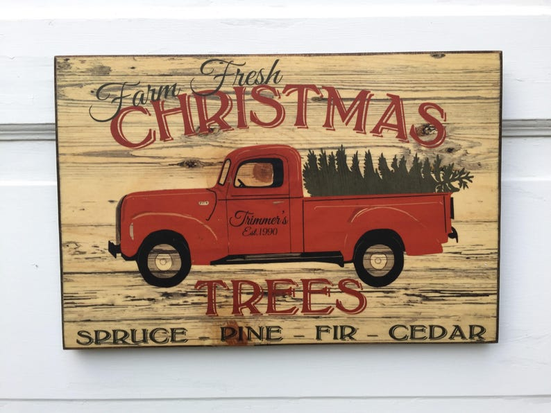 Personalized Vintage Farm Fresh Christmas Trees Sign Wood image 0