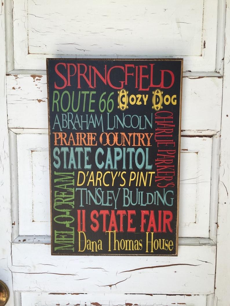 Springfield Illinois Typography Decor Art on Wood Capitol of image 0