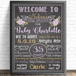 Lavender Floral Baby Shower Chalkboard Sign // Shabby Chic // Shower Decorations // Nursery Decor // It's A Girl // Flower Bouquet  //