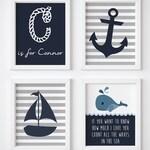 Nautical Nursery Printable Wall Art Decor / Ahoy It's a Boy / Nautical Print / Sailor Monogram Print / Sailboat Anchor / Sailor Nursery Art