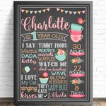Tea Party Decorations / First Birthday Chalkboard Sign / Tea Time Party Decor / Printable Birthday Sign / Pink Decor / Chic First Birthday