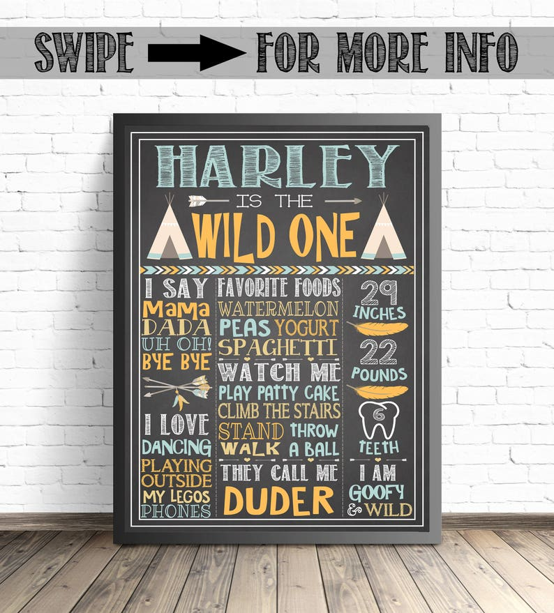 eaa38f739ee Wild One First Birthday Chalkboard Sign   Tribal Party