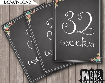 Weekly Pregnancy Countdown Instant Download // Baby Bump Sign // Week by Week // Floral Chalkboard // Gender Reveal Sign // Photo Prop