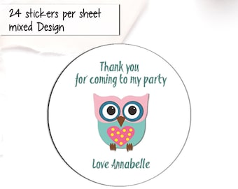 40mm Dinosaur *Thank You For Coming To My Party* Round Stickers for Party Bags /& Sweet Cones 24 x Stickers