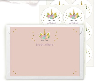 Stationery Set for girls, Personalised Unicorn Writing Set with 12 Cards Envelopes and Stickers, Thank you Cards, Stocking Filler Teen Girls
