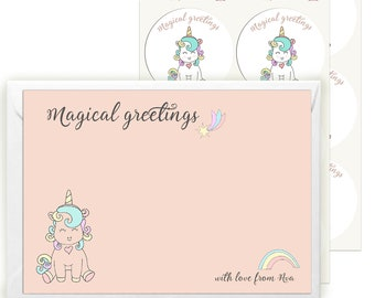 Stationery Set For Girls - Personalised Unicorn Writing Set with 12 Cards Envelopes and Stickers - Thank you Cards