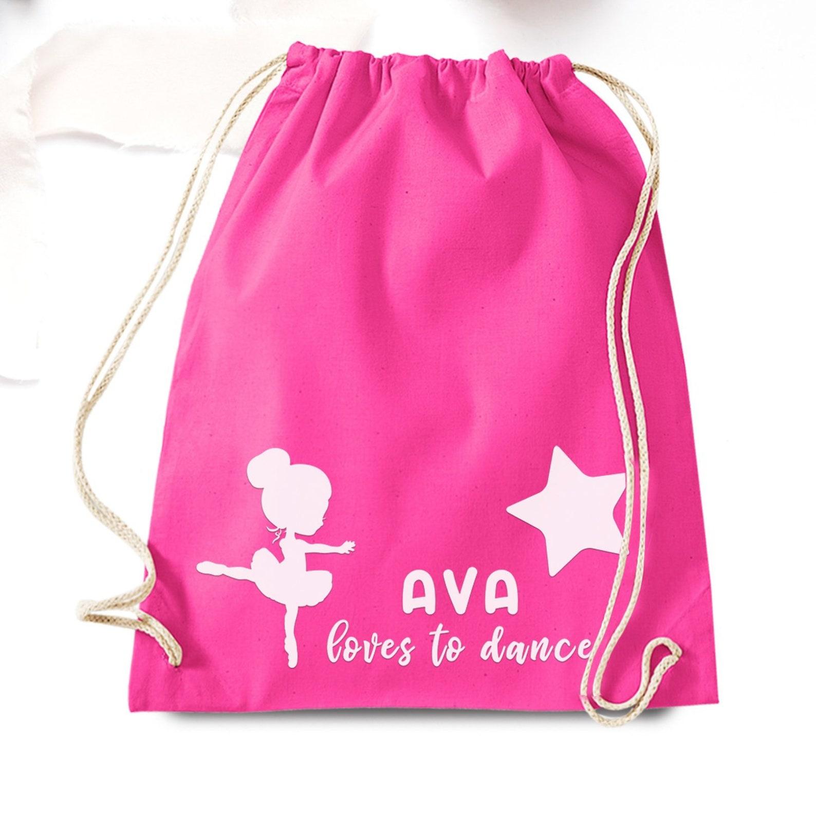 girls ballet bag, personalised drawstring backpack, love to dance, pe bag, birthday gift for girls, nursery sack, children sport