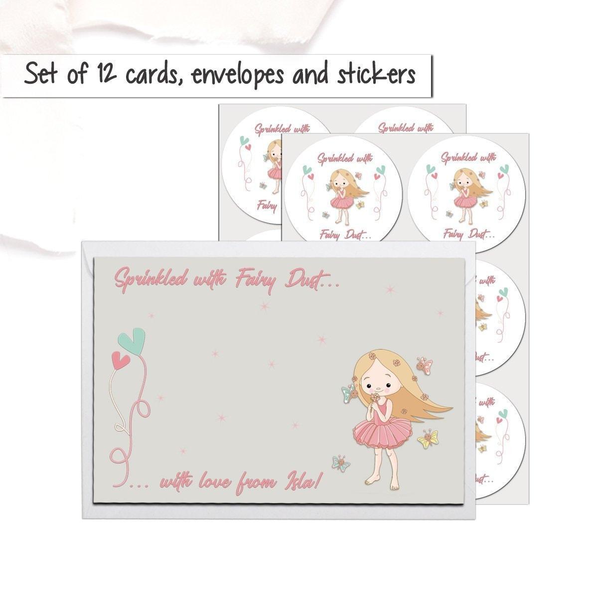 Thank you Greeting Card Set 12 Envelopes +Sticker Set of 12 Greeting Cards