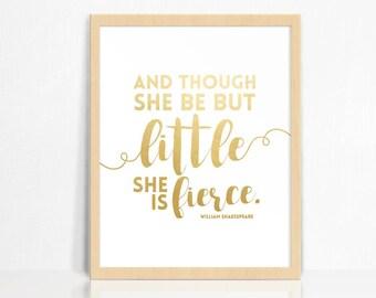 GOLD FOIL | Little + Fierce | Wall Print | Nursery Decor | Children's Room Print