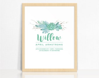 Baby Birth Details Print- Succulents   Nursery Decor   Children's Room Print
