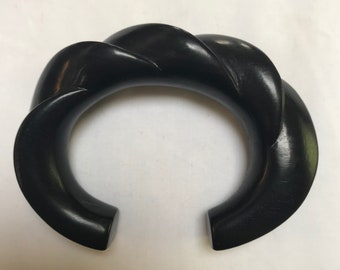 Vintage Signed PATRICIA VON MUSULIN Carved Ebony Wood Sculptural Cuff