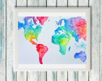 Watercolor world map etsy watercolor world map rainbow gumiabroncs Image collections