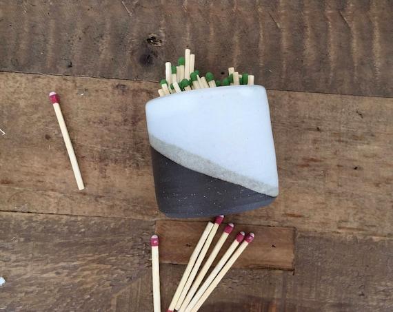 Ceramic Matchstick holder- Strike on side- White- small jar