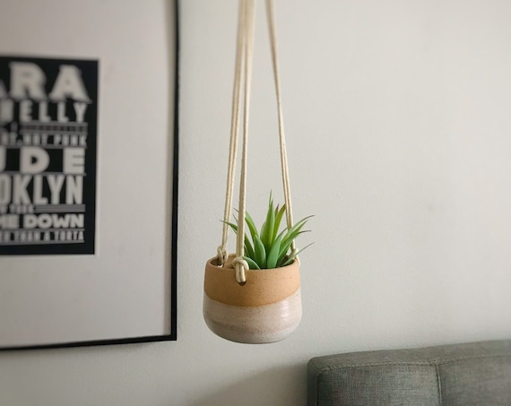 """Small 3""""  hanging planter-ceramic- hanging flower pot - with drainage hole"""