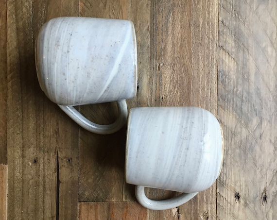 ceramic coffee mug-marble design -Beige and white