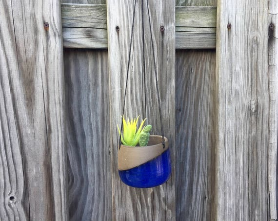 Small Ceramic planter-Blue- hanging flower pot -herb planter