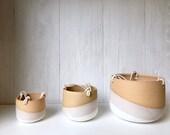 Beige-Ceramic hanging planter-white on beige stoneware- hanging flower pot - with drainage hole- three sizes available