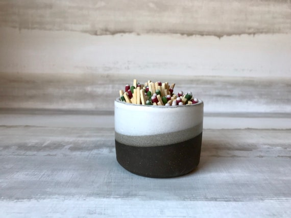 Wide chocolate and white - ceramic Matchstick holder- Strike on side - match jar- NEW!