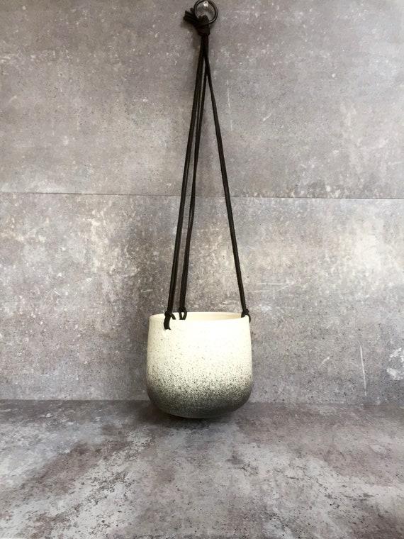 Large Ceramic planter-white and black-   Hanging flower pot - herb planter