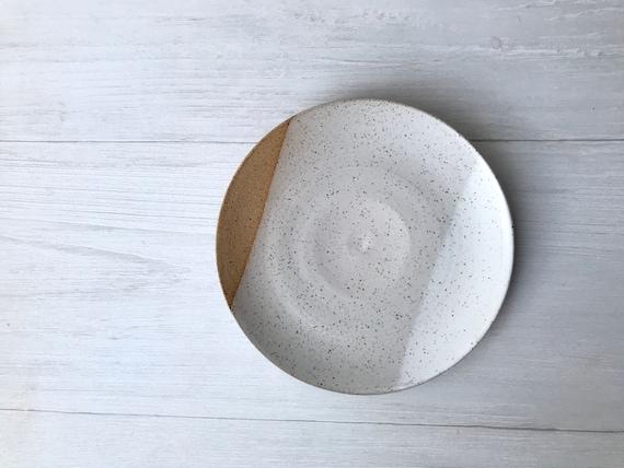 Speckled-small plate- dessert plate- multipurpose dish-kitchenware-White
