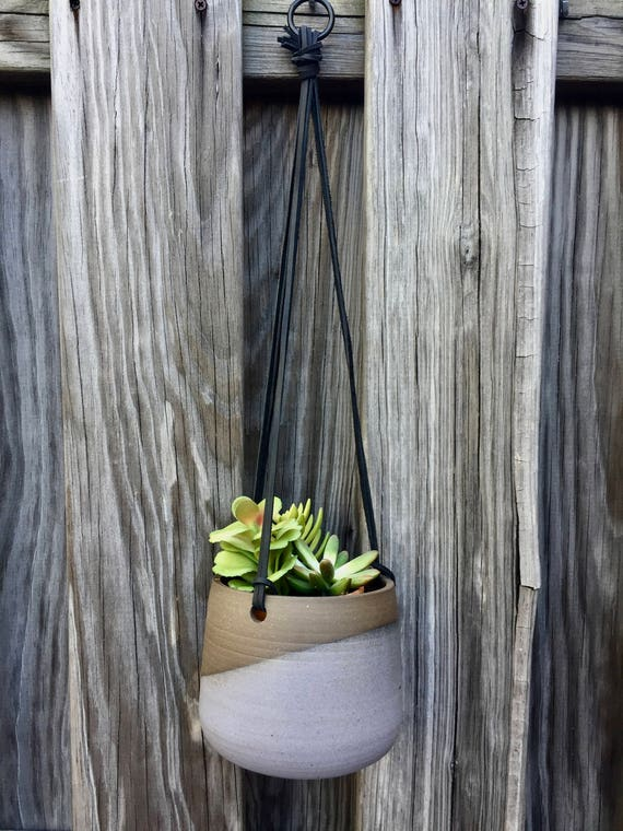 Large Ceramic planter-Purple/gray-   Hanging flower pot - herb planter