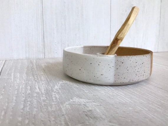 Speckeled- ceramic palo santo incense burner- ceramic tray- palo santo wood stick optional! white and speckeled