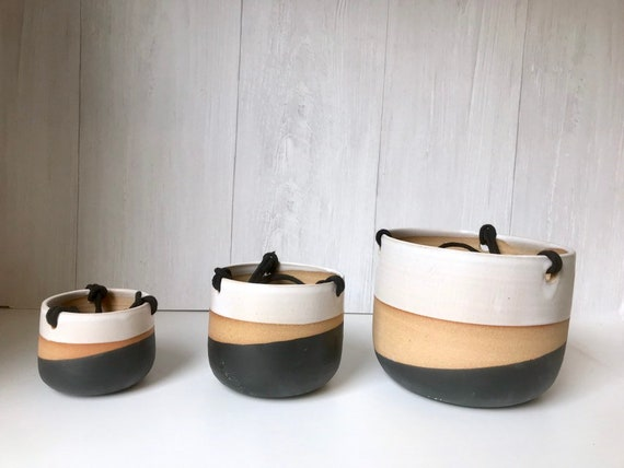 Tri color- Ceramic hanging planters- white and black on stoneware- hanging flower pot - herb planter- three sizes available