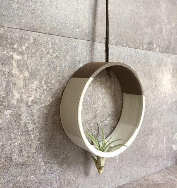 Hanging Circular Airplant holder- ceramic- plant vase- two tone white on dark stoneware