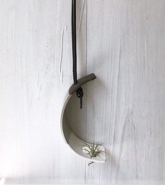 Chocolate- Hanging crescent moon Airplant holder- ceramic- plant vase arc- two tone white on chocolate stoneware