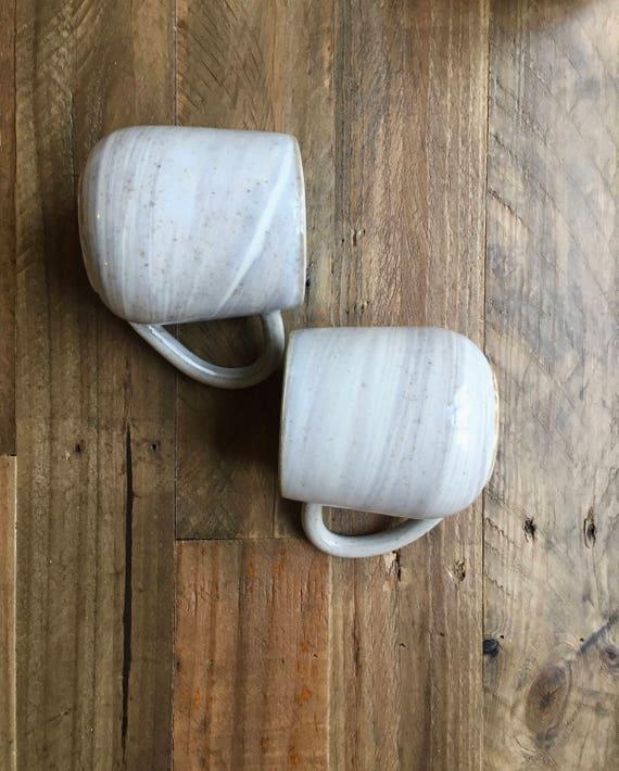 ceramic coffee mug-marble design -Beige and white