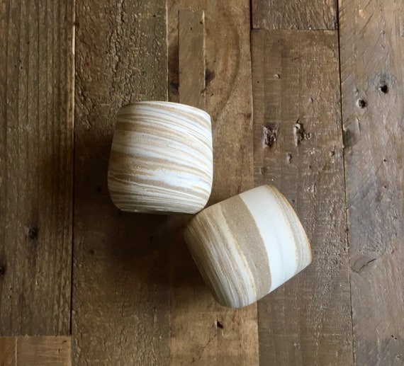 Ceramic stemless wine glasses- marble clay- beige and white NEW!