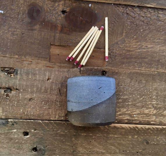 Ceramic Matchstick holder- Strike on side- purple gray- small jar