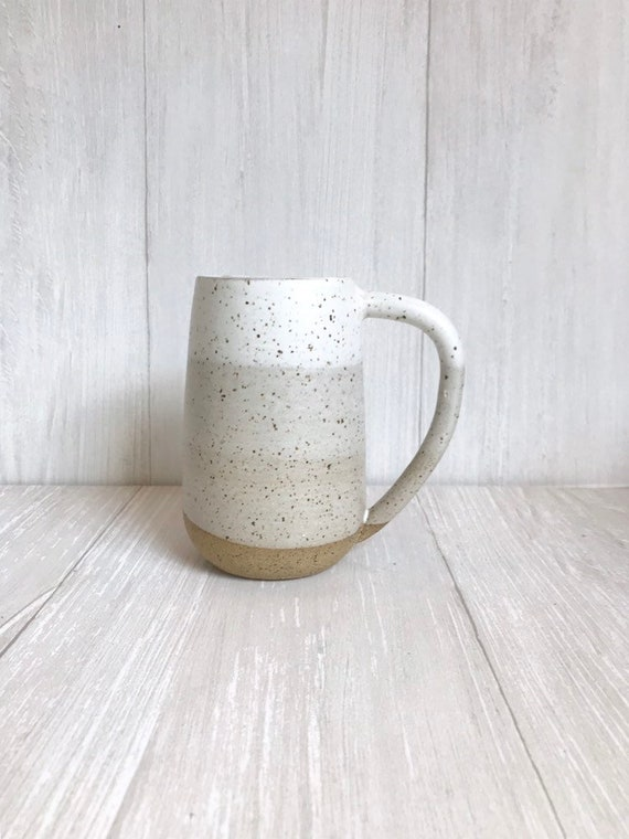 Speckled- ceramic mug - tall coffee cup - white on speckled clay- striped coffee mug