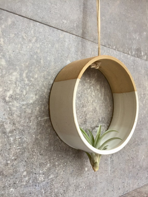 Hanging Circular Airplant holder- ceramic- plant vase- two tone white on beige stoneware