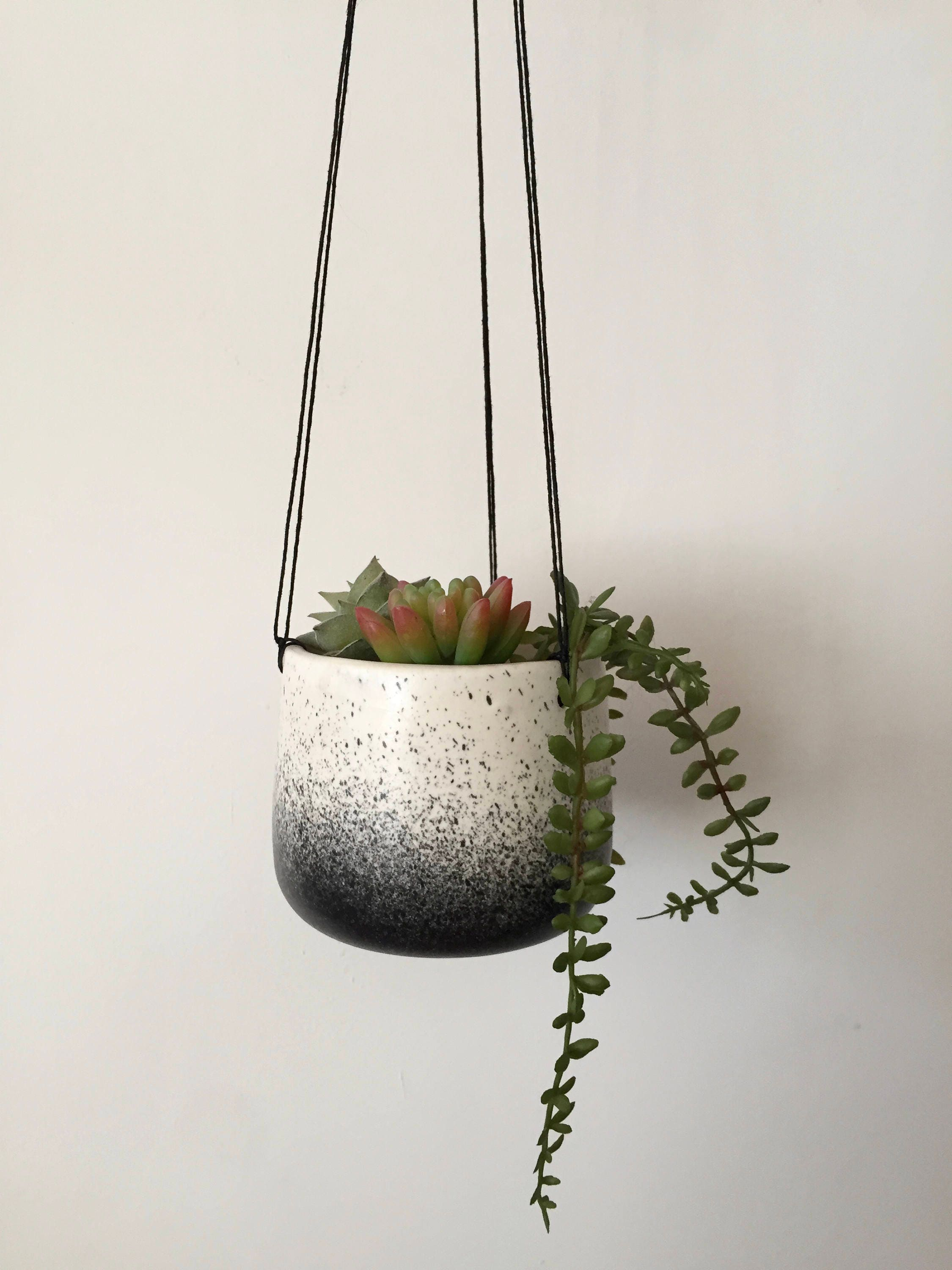 Small Ceramic Planter White And Black Hanging Flower Pot Herb