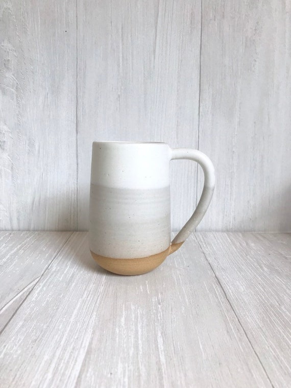 Beige- ceramic mug - tall coffee cup - white on beige striped coffee mug