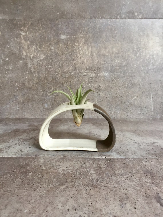 Small Airplant stand- ceramic plant stand- - two tone white on chocolate stoneware