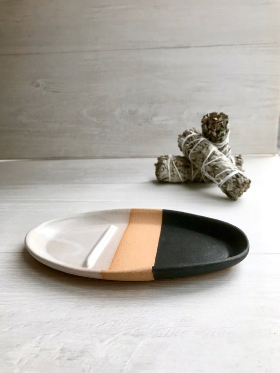 Tri color- smuge dish- sage stick optional- ceramic sage stick dish- white and black on beige