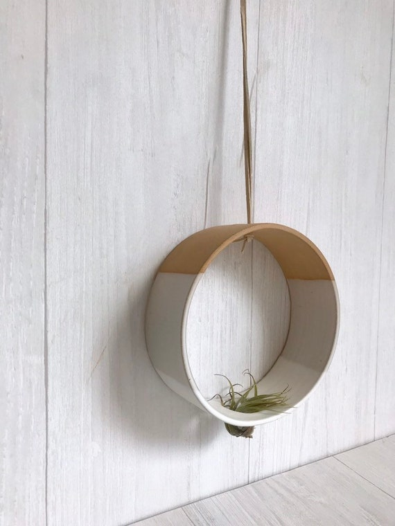 Beige- Hanging Circular Airplant holder- ceramic- plant vase- two tone white on beige stoneware