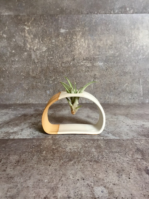 Small Airplant stand- ceramic plant stand- - two tone white on beige stoneware