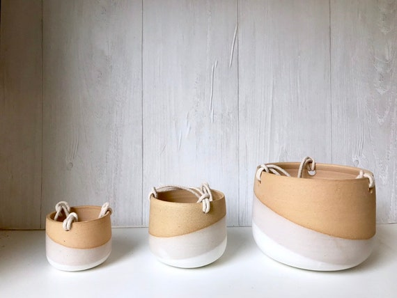 Beige-Ceramic hanging planter-white on beige stoneware- hanging flower pot - with drainage hole- three sizes available